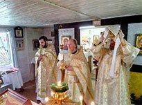 Богослужение в Преображенском храме п. Загорянский